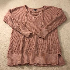 American Eagle light pink lace up sweater